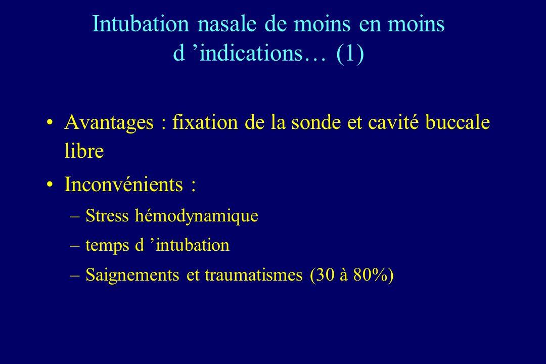 Intubation nasale de moins en moins d 'indications… (1)