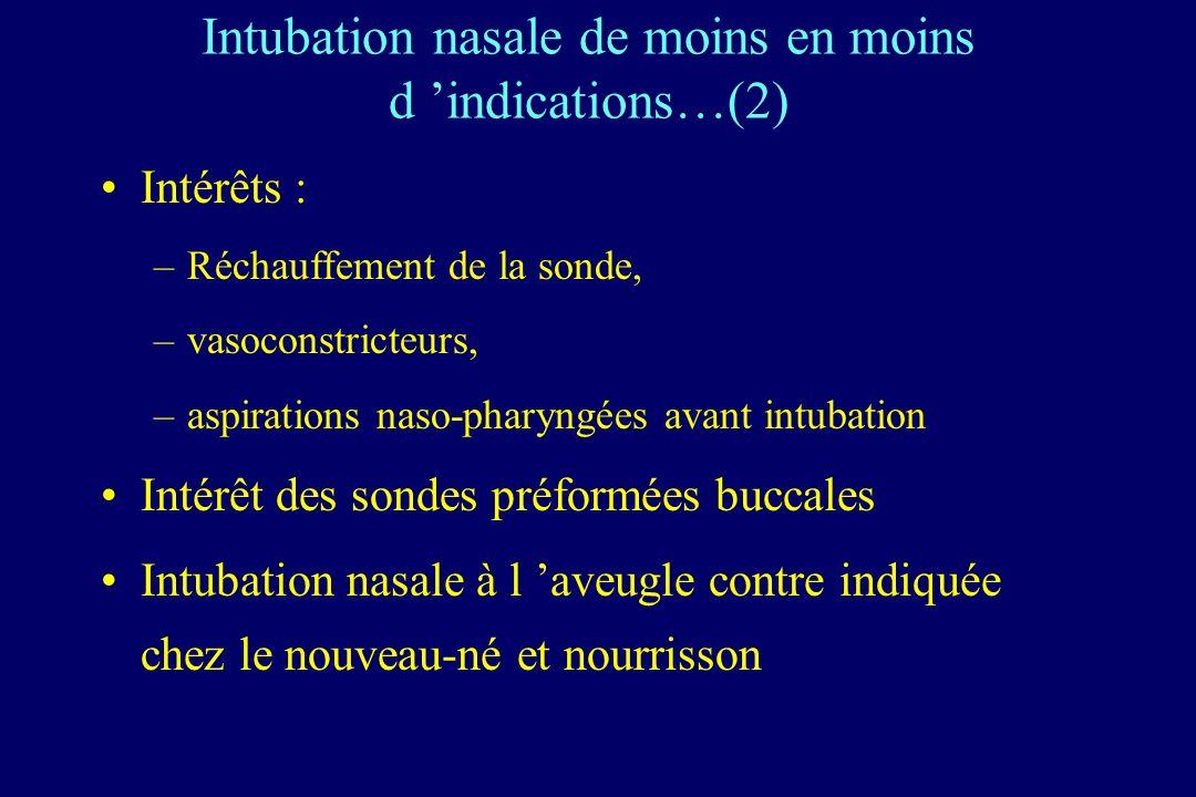 Intubation nasale de moins en moins d 'indications…(2)