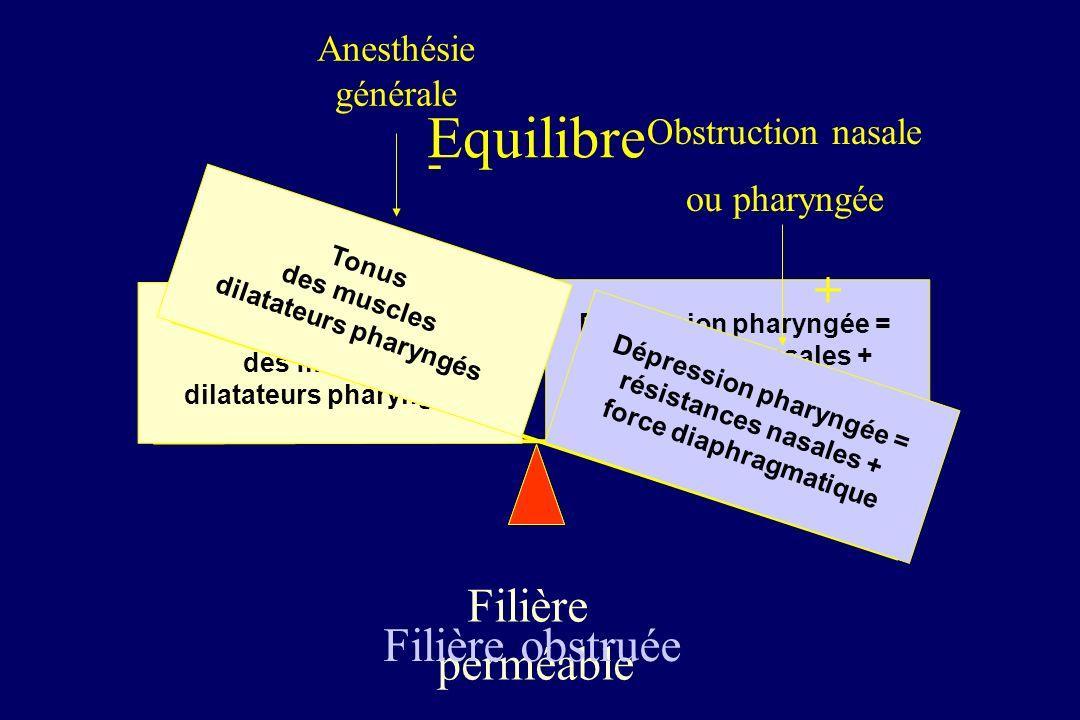 Equilibre - + Filière perméable Filière obstruée Anesthésie générale