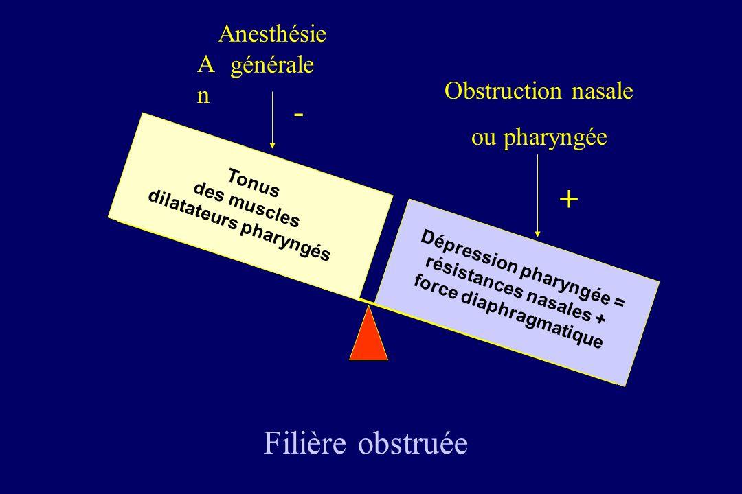 - + Filière obstruée Anesthésie générale An Obstruction nasale