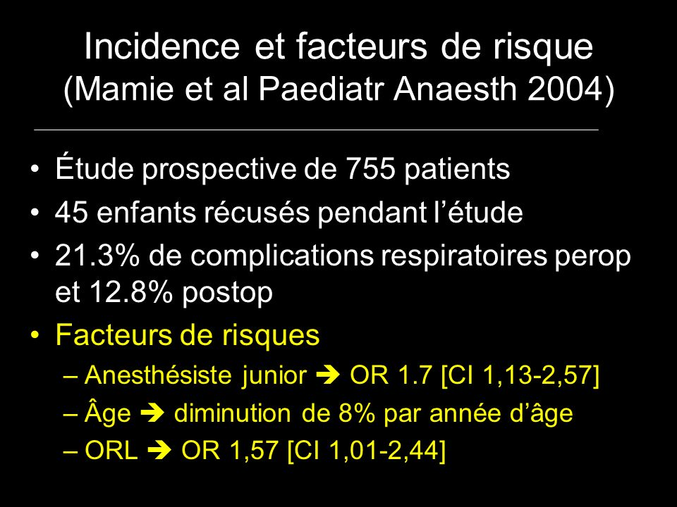 Incidence et facteurs de risque (Mamie et al Paediatr Anaesth 2004)