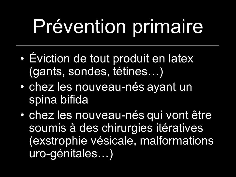 Prévention primaireÉviction de tout produit en latex (gants, sondes, tétines…) chez les nouveau-nés ayant un spina bifida.