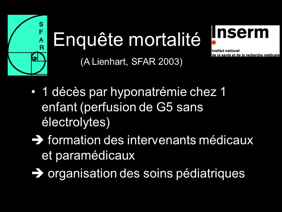 Enquête mortalité (A Lienhart, SFAR 2003) 1 décès par hyponatrémie chez 1 enfant (perfusion de G5 sans électrolytes)