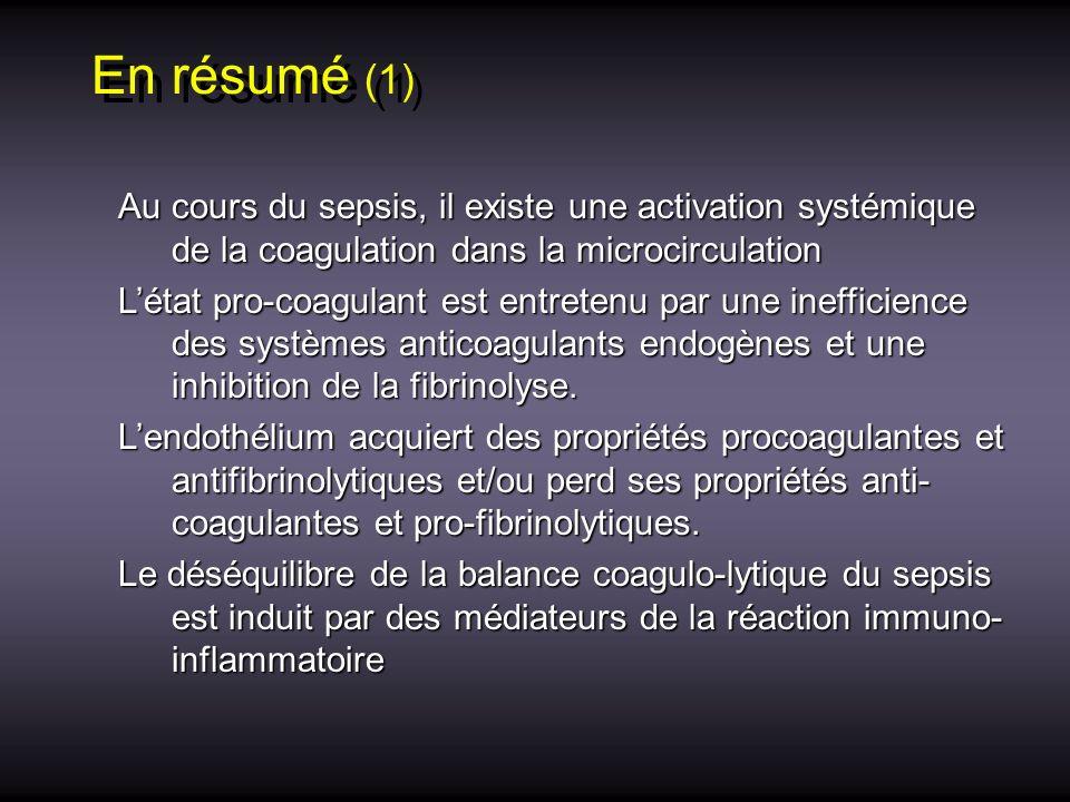 En résumé (1) Au cours du sepsis, il existe une activation systémique de la coagulation dans la microcirculation