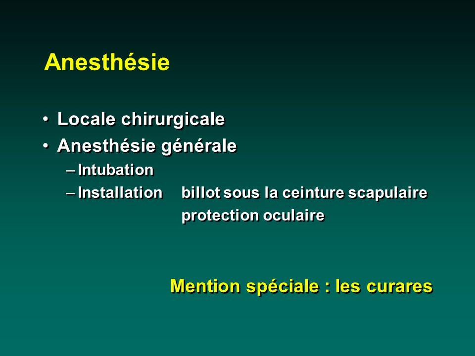 Anesthésie Locale chirurgicale Anesthésie générale