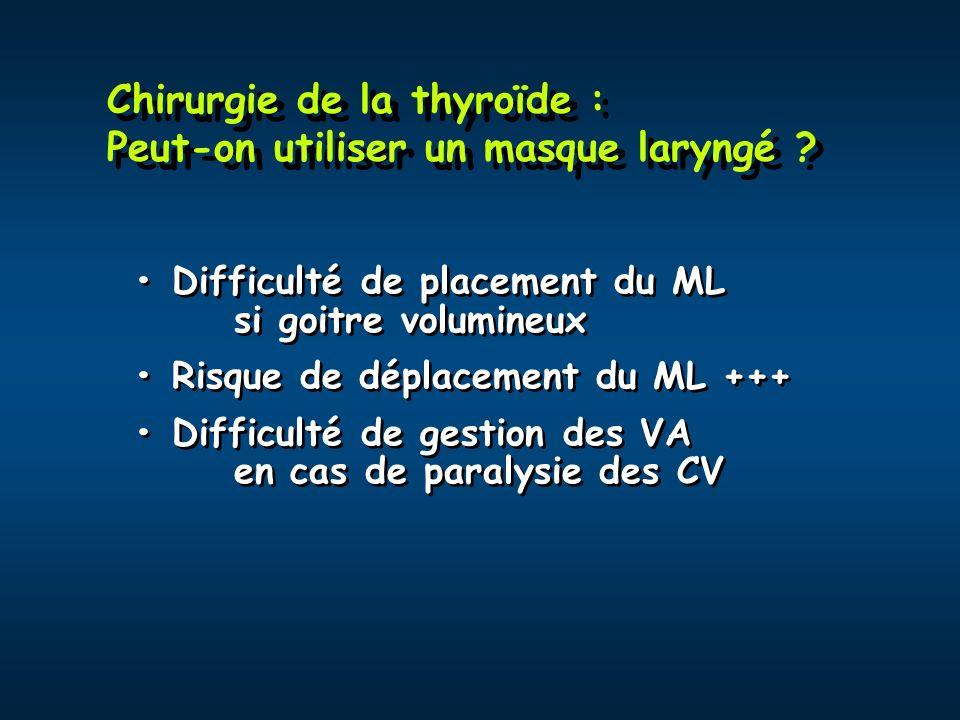 Chirurgie de la thyroïde : Peut-on utiliser un masque laryngé
