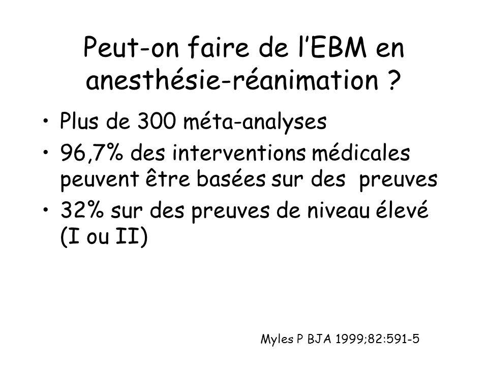 Peut-on faire de l'EBM en anesthésie-réanimation