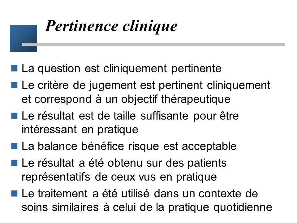 Pertinence clinique La question est cliniquement pertinente