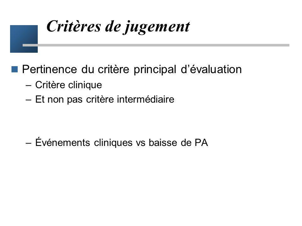 Critères de jugement Pertinence du critère principal d'évaluation