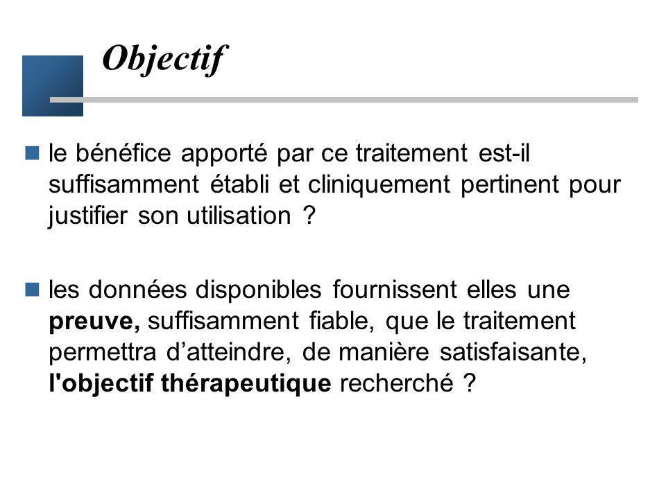 Objectif le bénéfice apporté par ce traitement est-il suffisamment établi et cliniquement pertinent pour justifier son utilisation