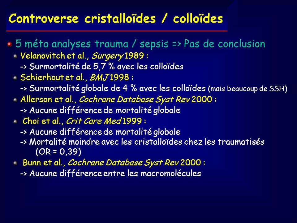 Controverse cristalloïdes / colloïdes