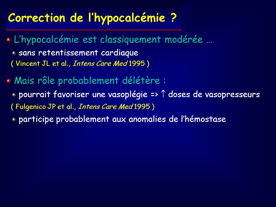 Correction de l'hypocalcémie