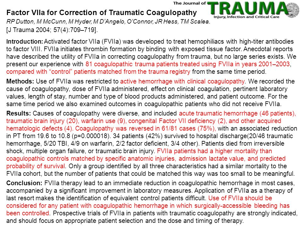 Factor VIIa for Correction of Traumatic Coagulopathy