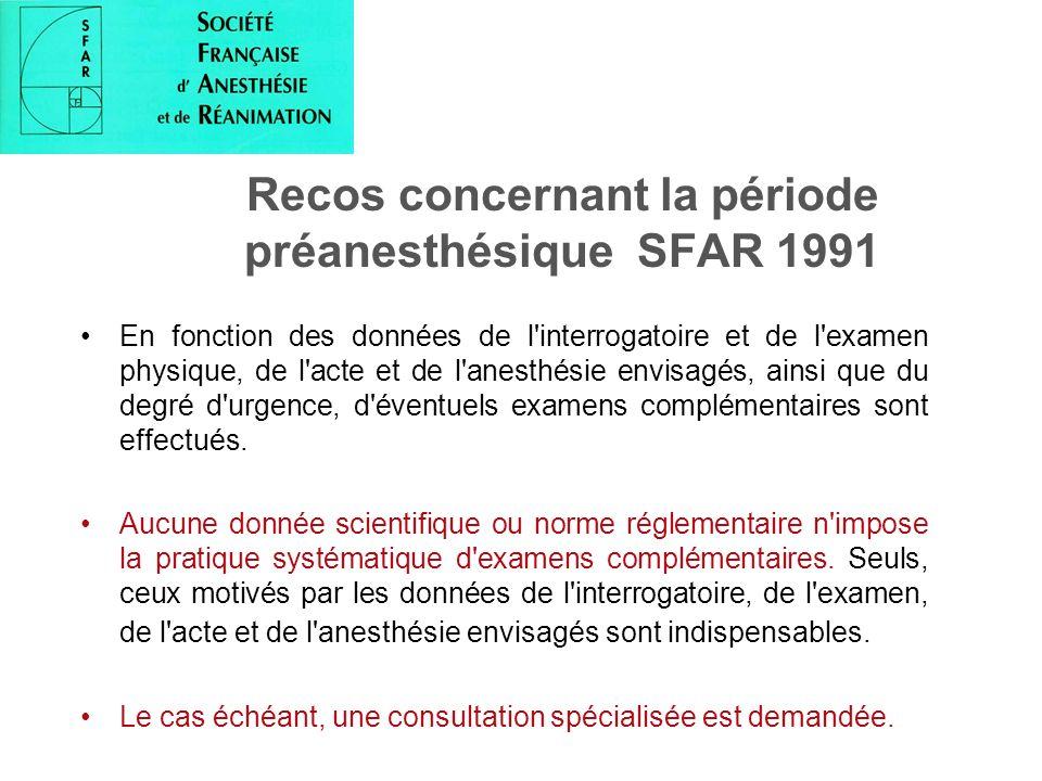 Recos concernant la période préanesthésique SFAR 1991