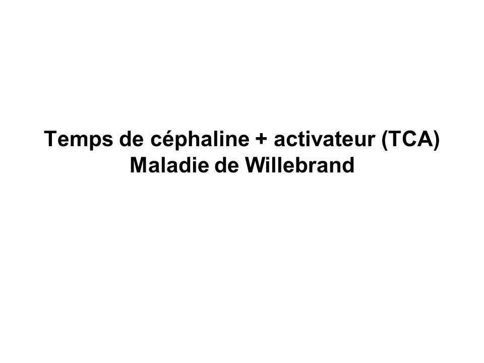 Temps de céphaline + activateur (TCA) Maladie de Willebrand