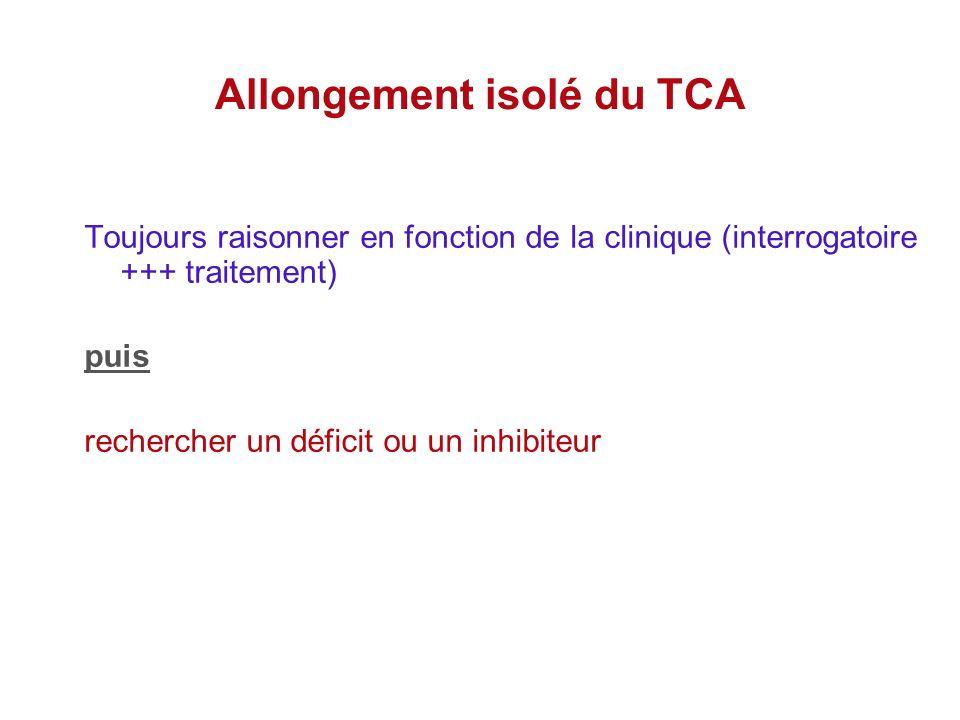 Allongement isolé du TCA