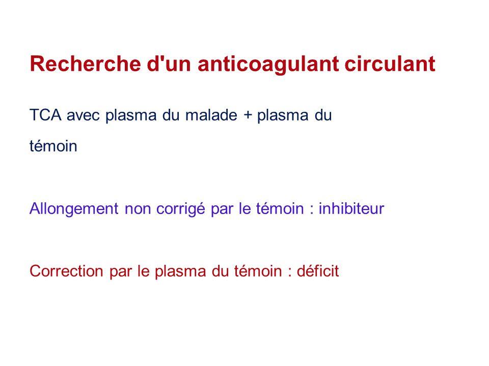 Recherche d un anticoagulant circulant