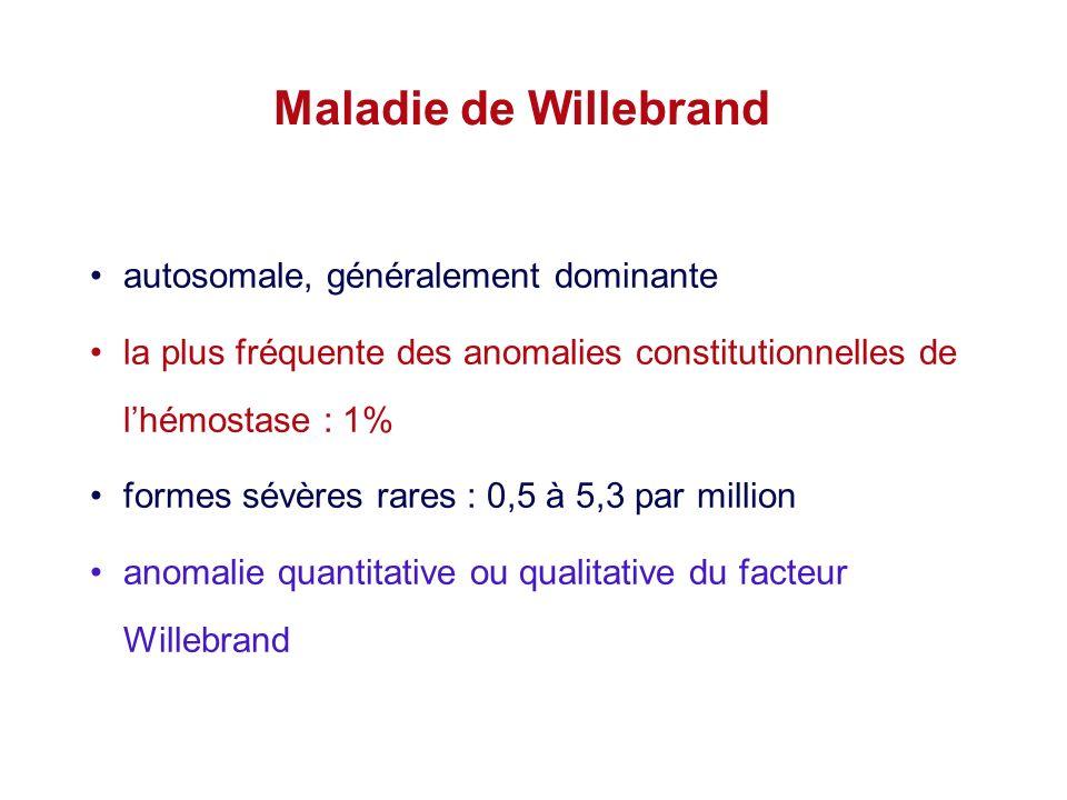 Maladie de Willebrand autosomale, généralement dominante