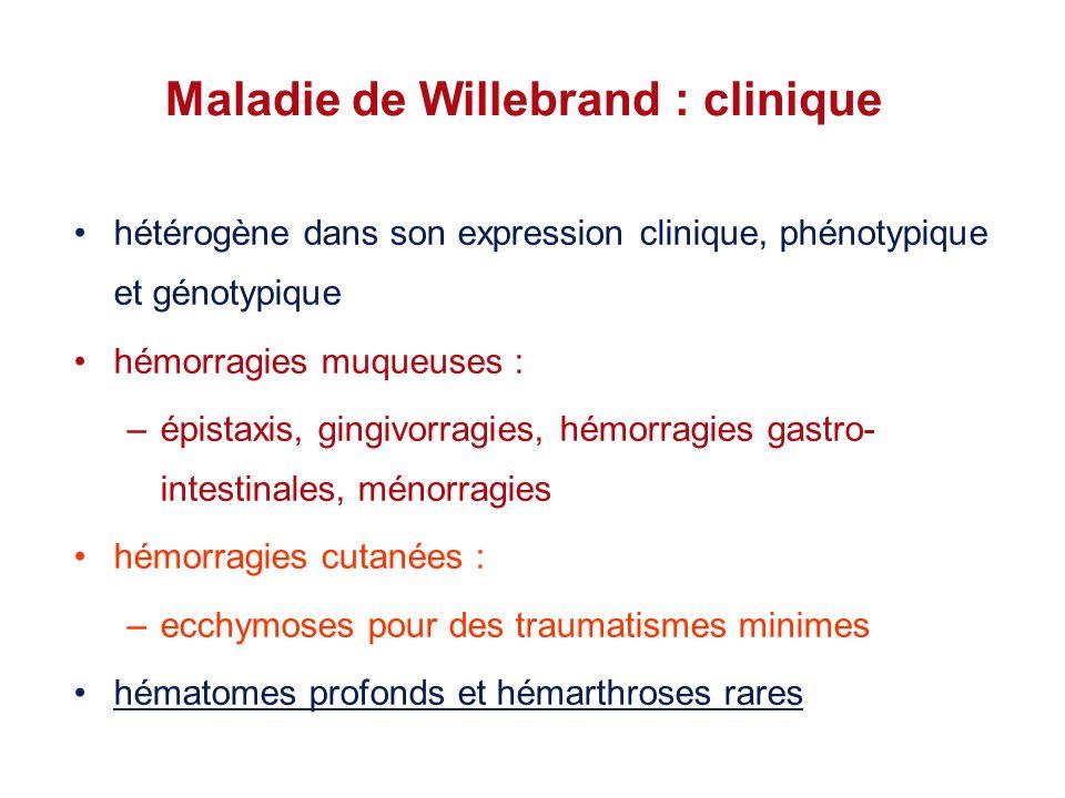 Maladie de Willebrand : clinique