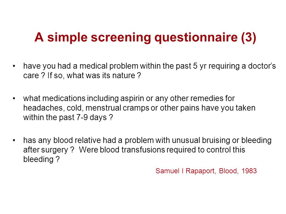 A simple screening questionnaire (3)