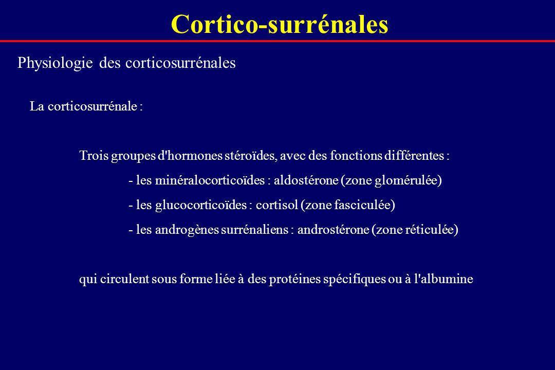 Cortico-surrénales Physiologie des corticosurrénales