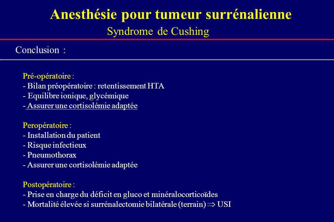 Anesthésie pour tumeur surrénalienne