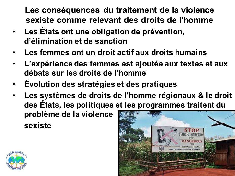 Les conséquences du traitement de la violence sexiste comme relevant des droits de l homme