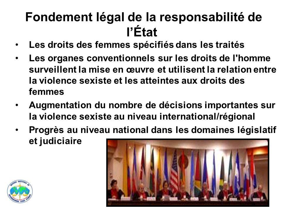 Fondement légal de la responsabilité de l'État