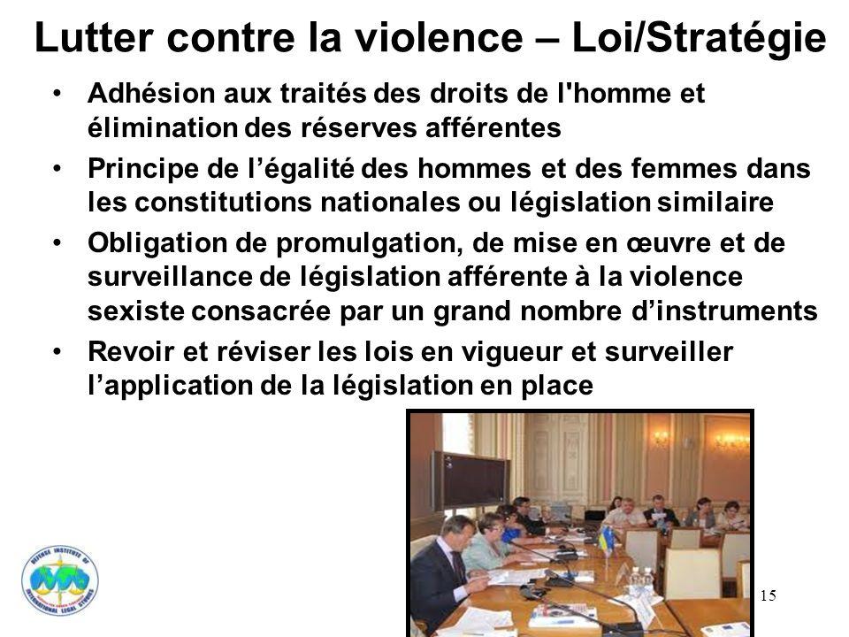 Lutter contre la violence – Loi/Stratégie