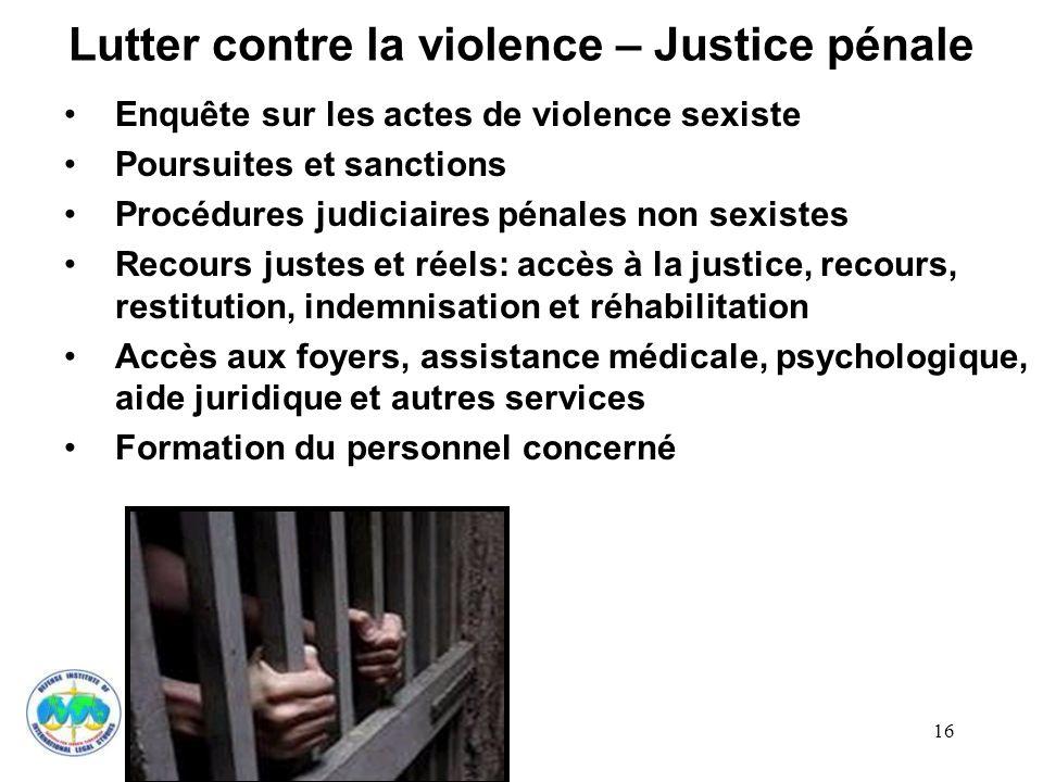Lutter contre la violence – Justice pénale