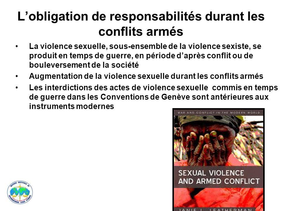 L'obligation de responsabilités durant les conflits armés