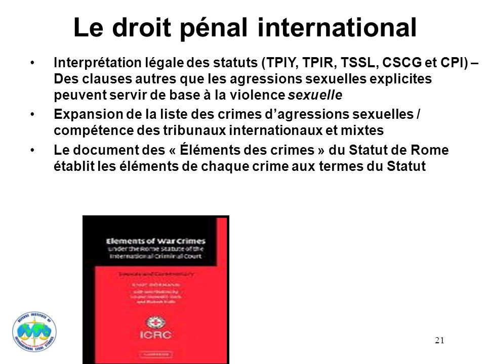 Le droit pénal international
