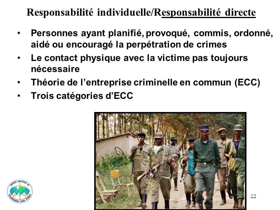 Responsabilité individuelle/Responsabilité directe