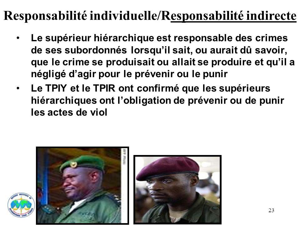 Responsabilité individuelle/Responsabilité indirecte