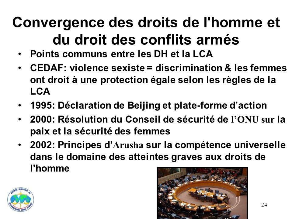 Convergence des droits de l homme et du droit des conflits armés