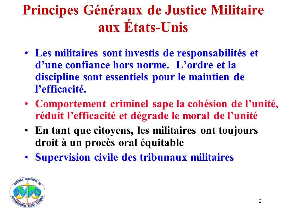 Principes Généraux de Justice Militaire aux États-Unis