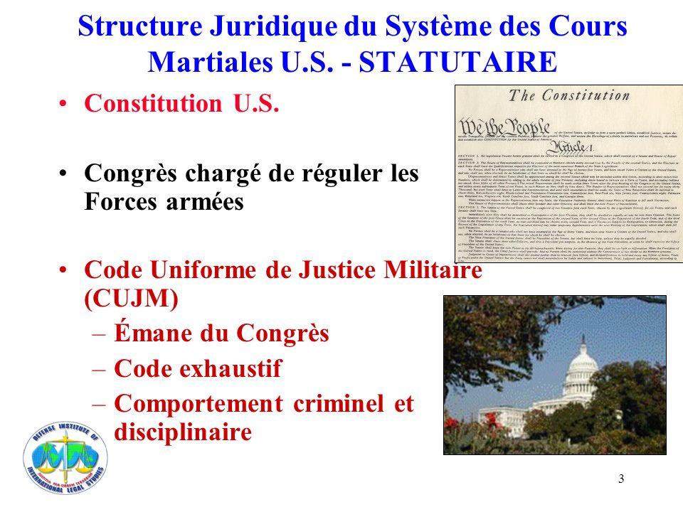 Structure Juridique du Système des Cours Martiales U.S. - STATUTAIRE