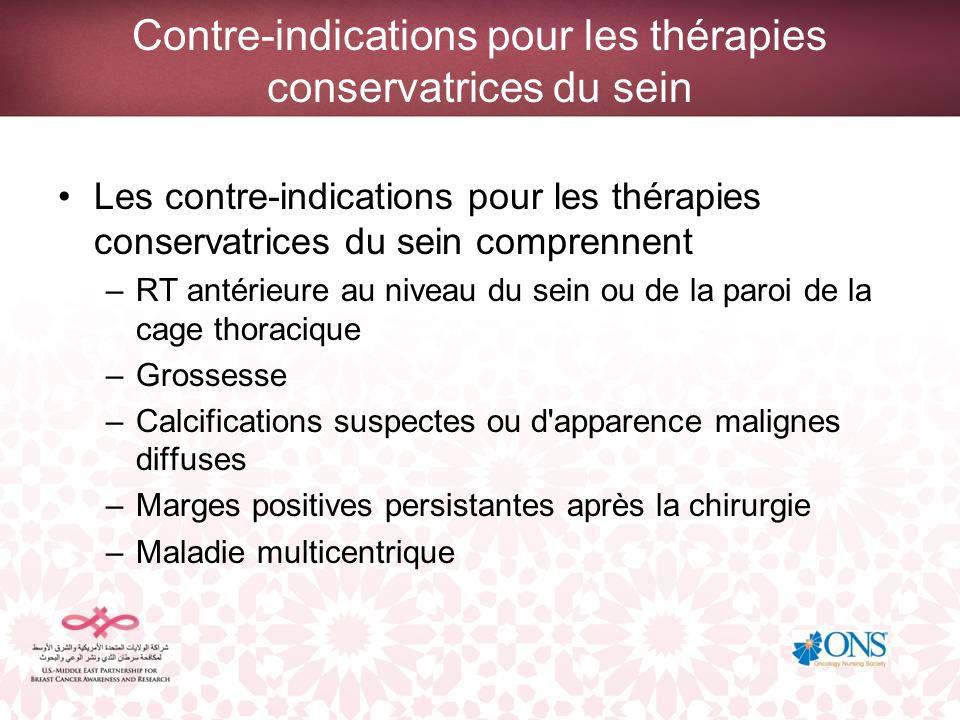 Contre-indications pour les thérapies conservatrices du sein
