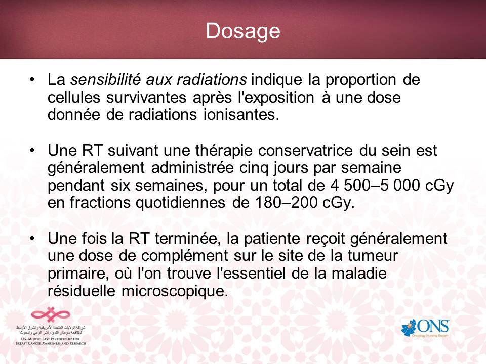 Dosage La sensibilité aux radiations indique la proportion de cellules survivantes après l exposition à une dose donnée de radiations ionisantes.