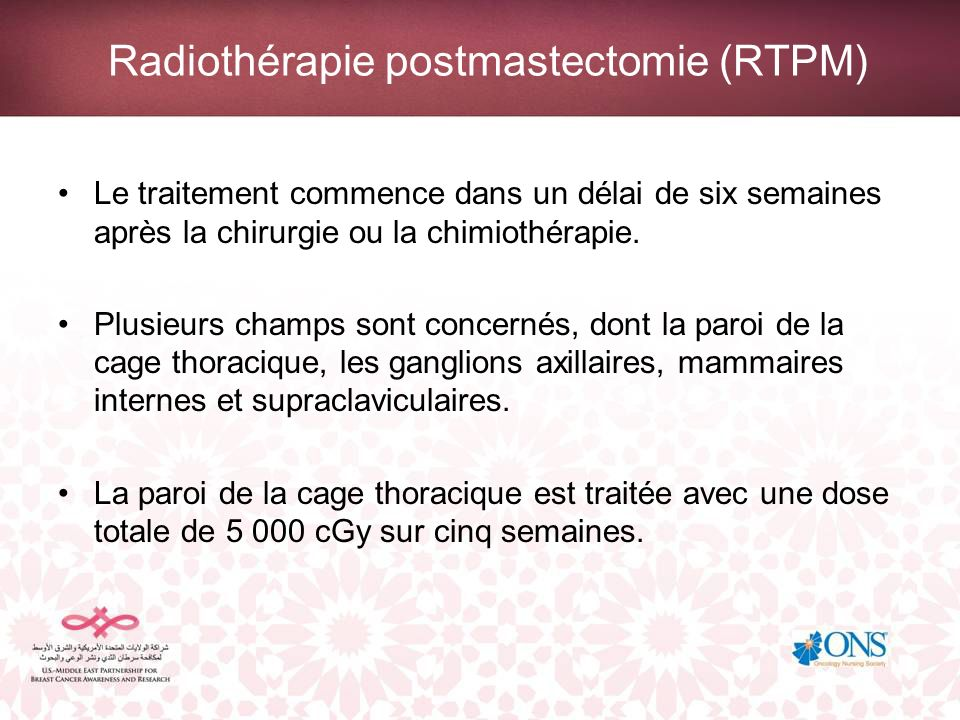 Radiothérapie postmastectomie (RTPM)