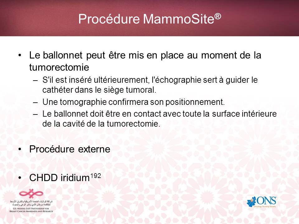 Procédure MammoSite® Le ballonnet peut être mis en place au moment de la tumorectomie.