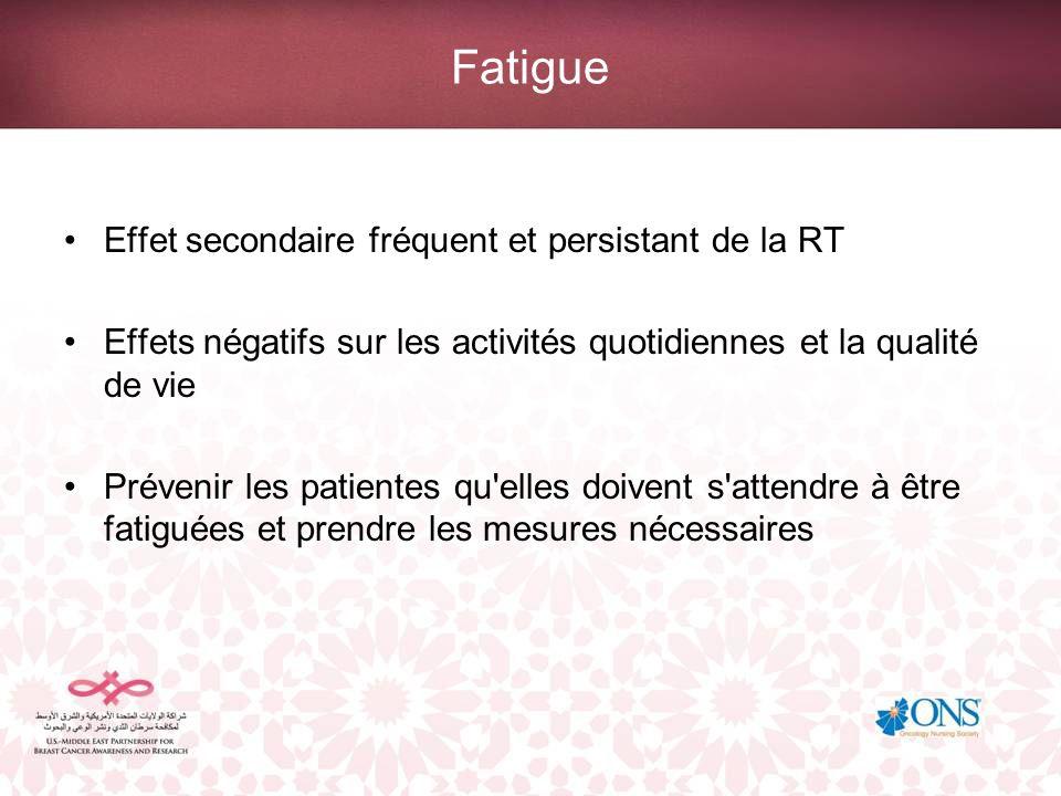 Fatigue Effet secondaire fréquent et persistant de la RT