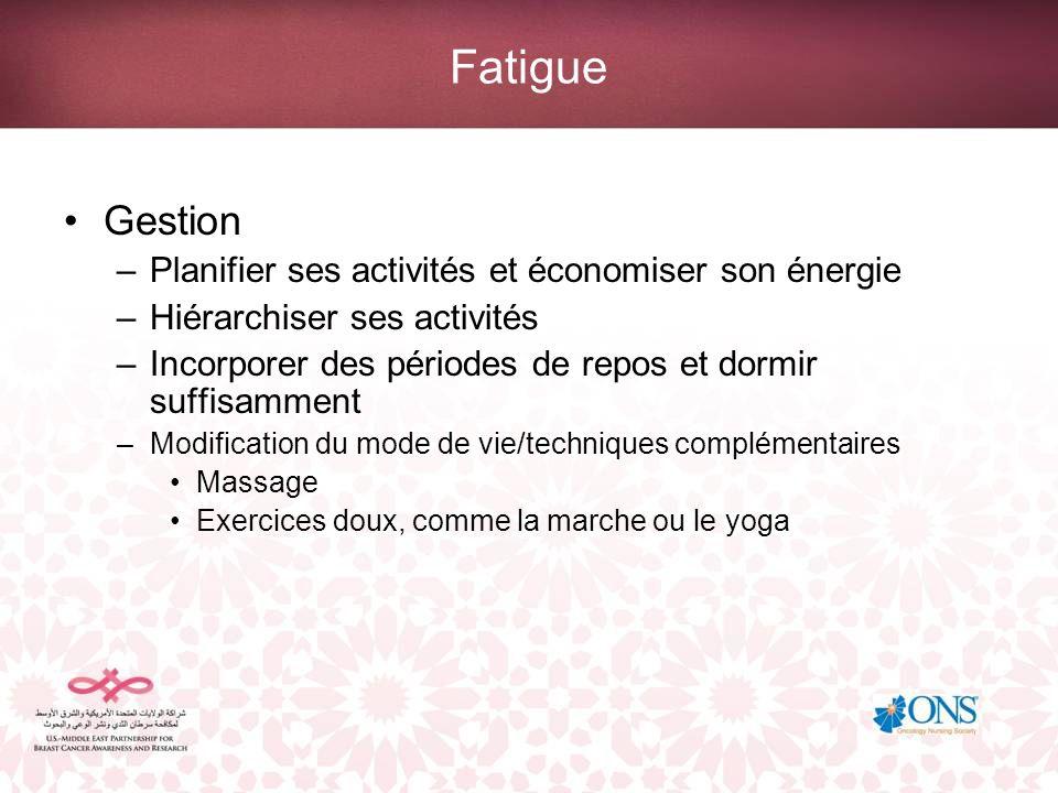 Fatigue Gestion Planifier ses activités et économiser son énergie