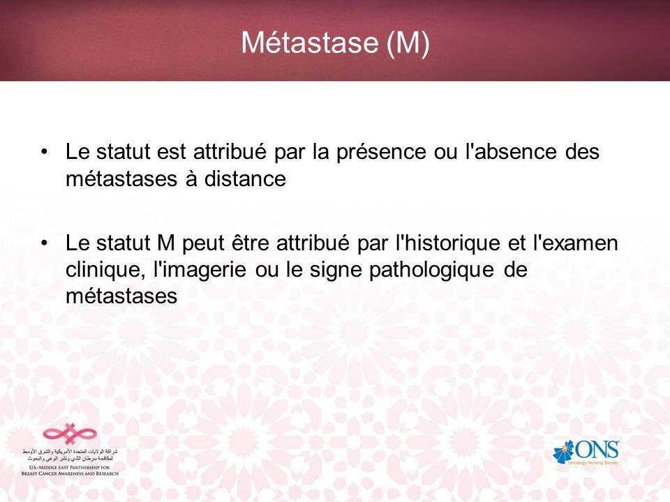 Métastase (M) Le statut est attribué par la présence ou l absence des métastases à distance.