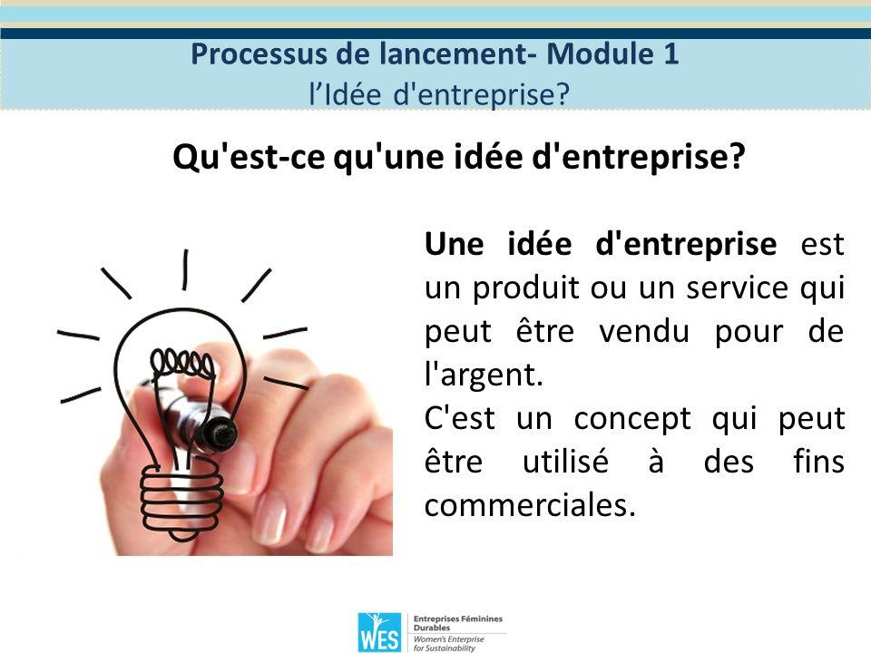 Processus de lancement- Module 1 Qu est-ce qu une idée d entreprise