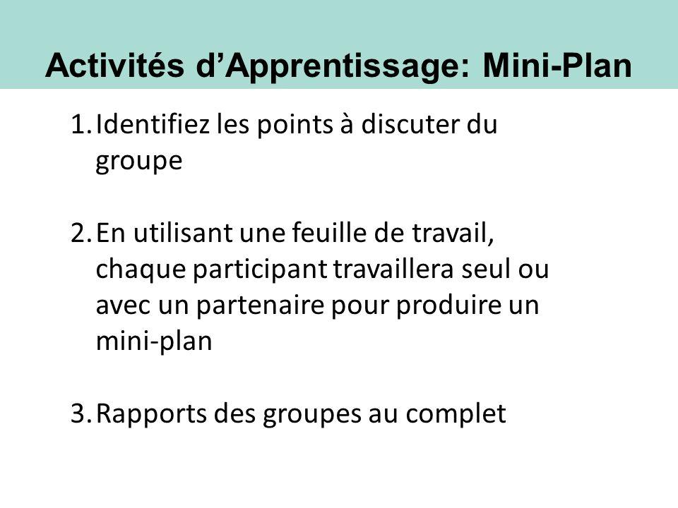 Activités d'Apprentissage: Mini-Plan