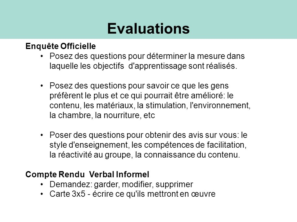 Evaluations Enquête Officielle