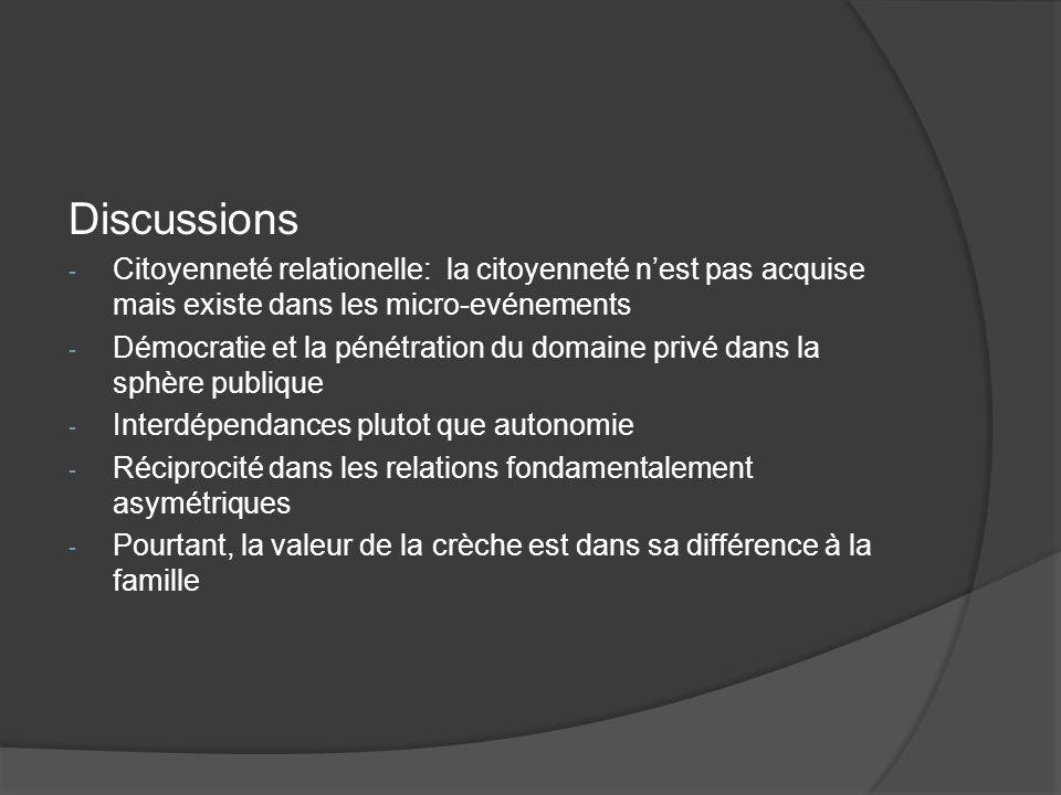 Discussions Citoyenneté relationelle: la citoyenneté n'est pas acquise mais existe dans les micro-evénements.