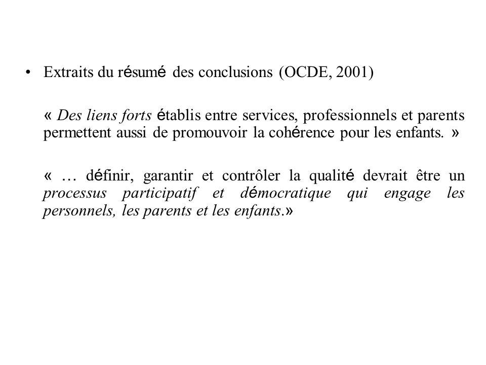 Extraits du résumé des conclusions (OCDE, 2001)