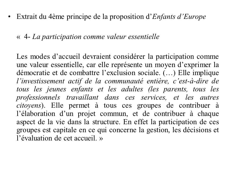 Extrait du 4ème principe de la proposition d'Enfants d'Europe